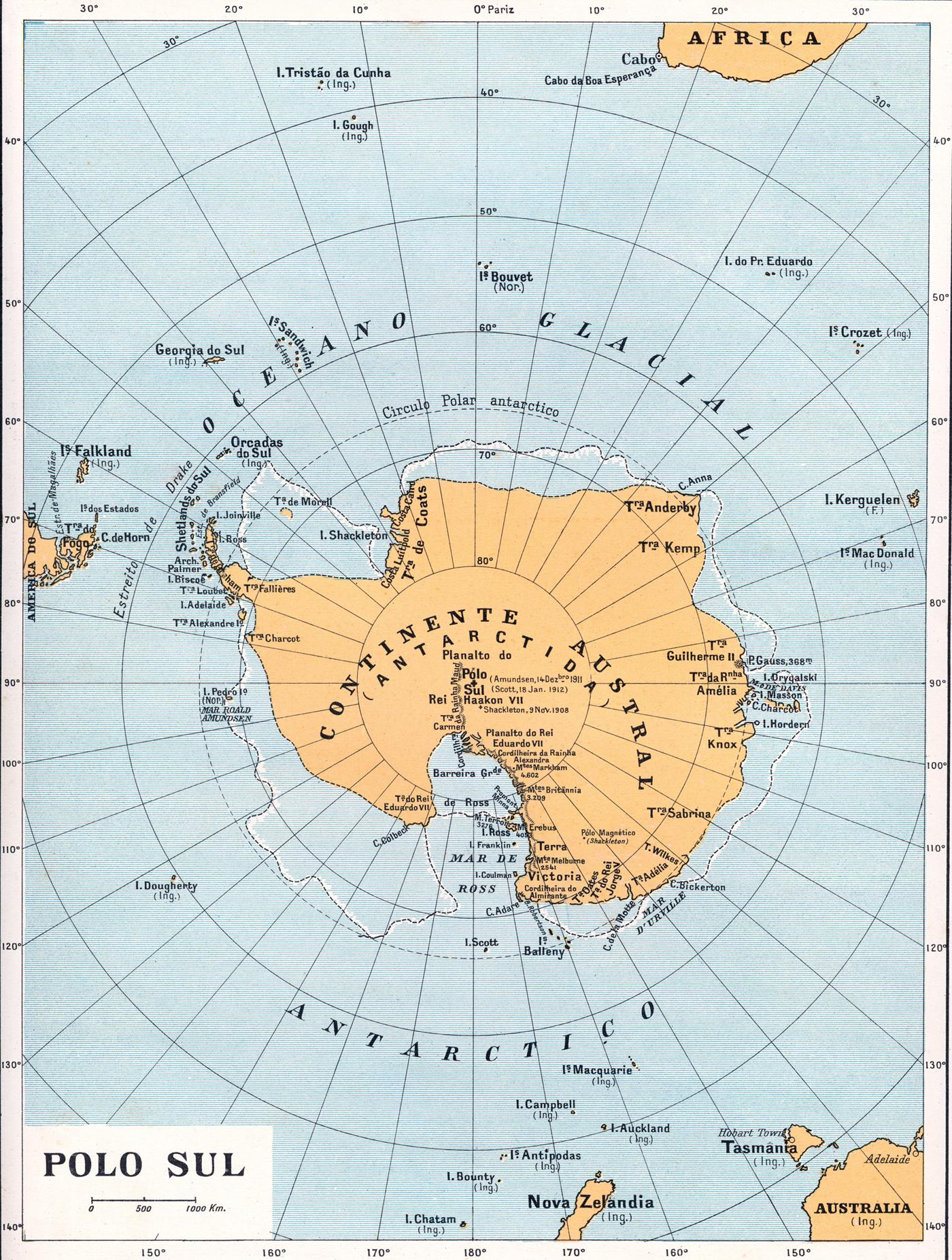Mapa Do Polo Sul E Antartida